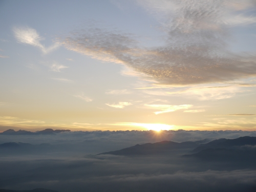 A sea of clouds near Ishizuchi Mountain in Ehime, Japan.