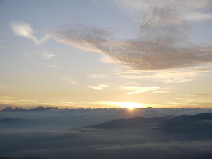 A sea of clouds near Ishizuchi Mountain in Ehime, Japan.