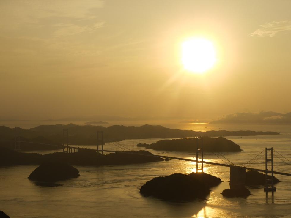 Sunset over Shimanami Kaido Bridge.