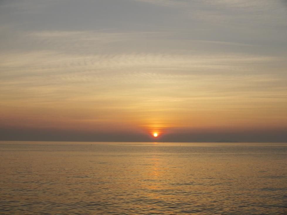 Sunset over Futami Beach in Futami, Ehime.