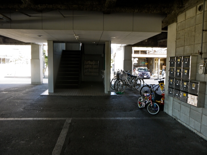 The bicycle parking area outside of my apartment building.