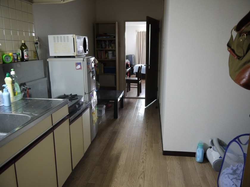The entrance (and kitchen) to my apartment.