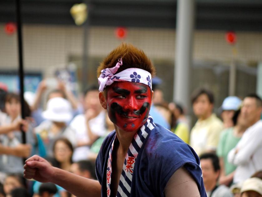 A man at a festival in Kanazawa, Japan.