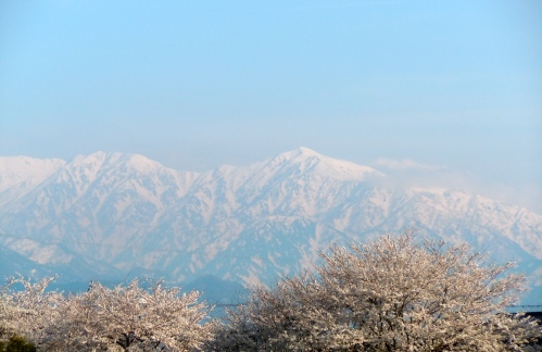 Snow and mountains in Namerikawa, Japan.