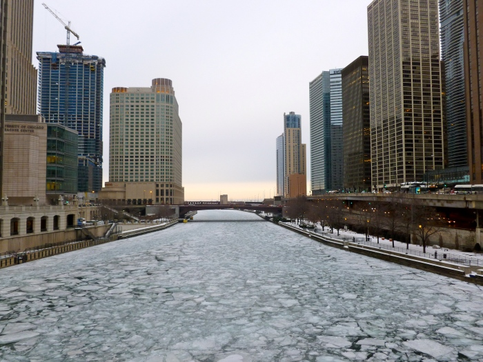 Ice covering the Chicago river in February 2014.